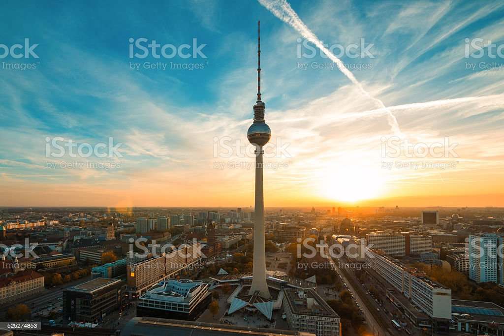 Berlin TV tower and skyline at sunset, Germany stock photo