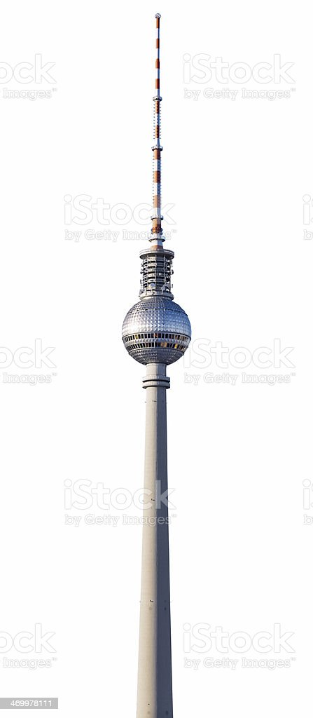 Berlin TV Tower isolated on white stock photo