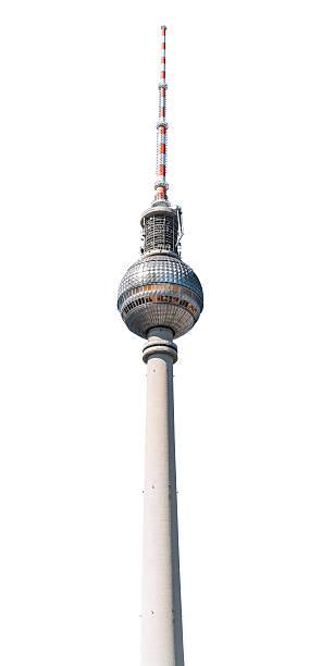 berliner fernsehturm, isoliert auf weiss - berliner fernsehturm stock-fotos und bilder