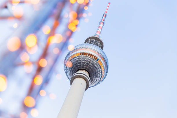 Berlin TV Tower with lights stock photo