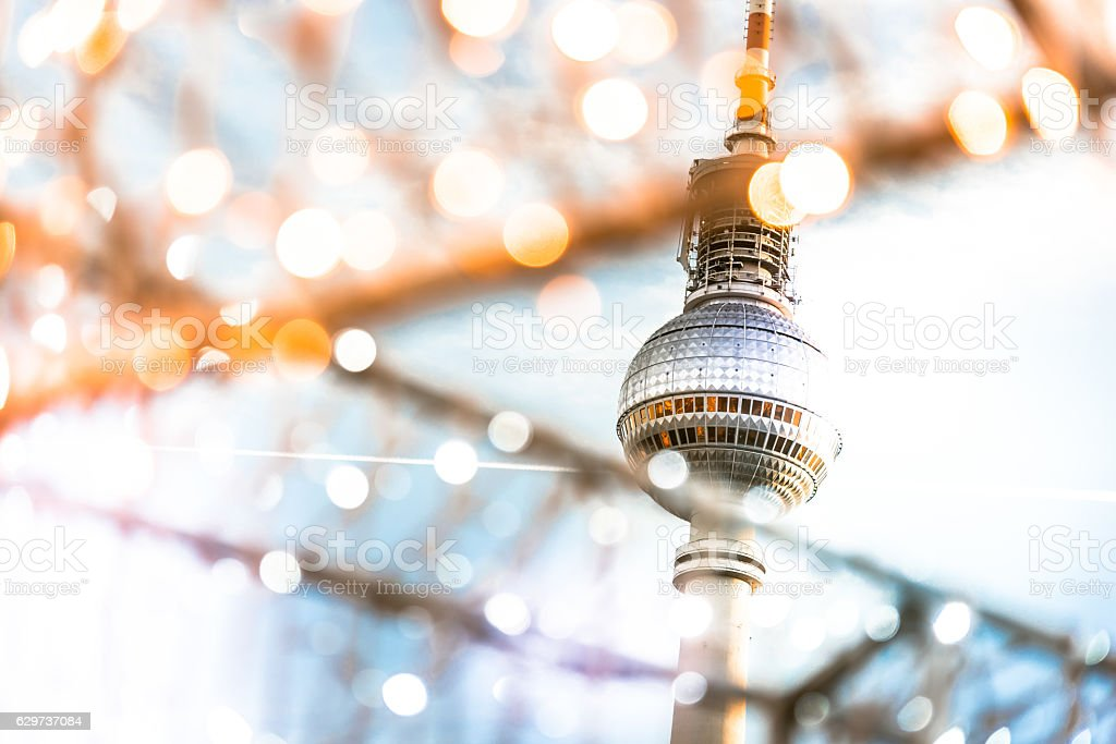 Berlin Tv-tower behind golden shining Christmas lights – Foto