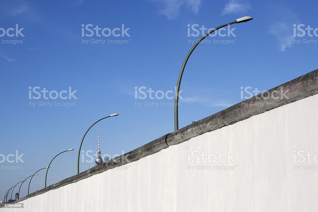 Berlin Wall, dividing East from West during the cold war royalty-free stock photo