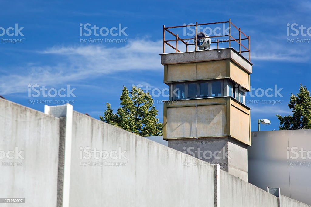 Berlin Wall Memorial, a watchtower in the inner area stock photo