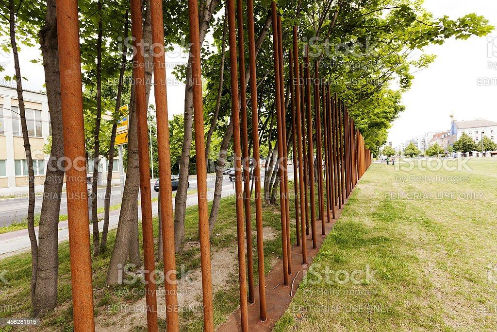 Berlin Wall Memorial Marking stock photo