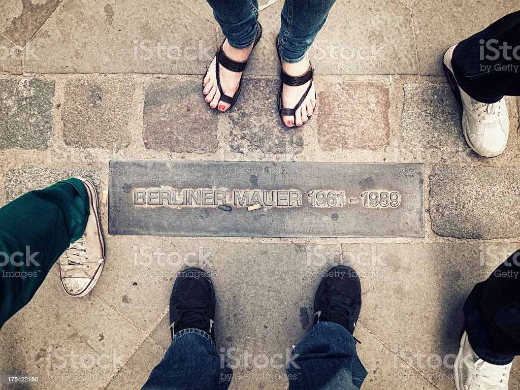 Berlin Wall sign on the ground with people stock photo