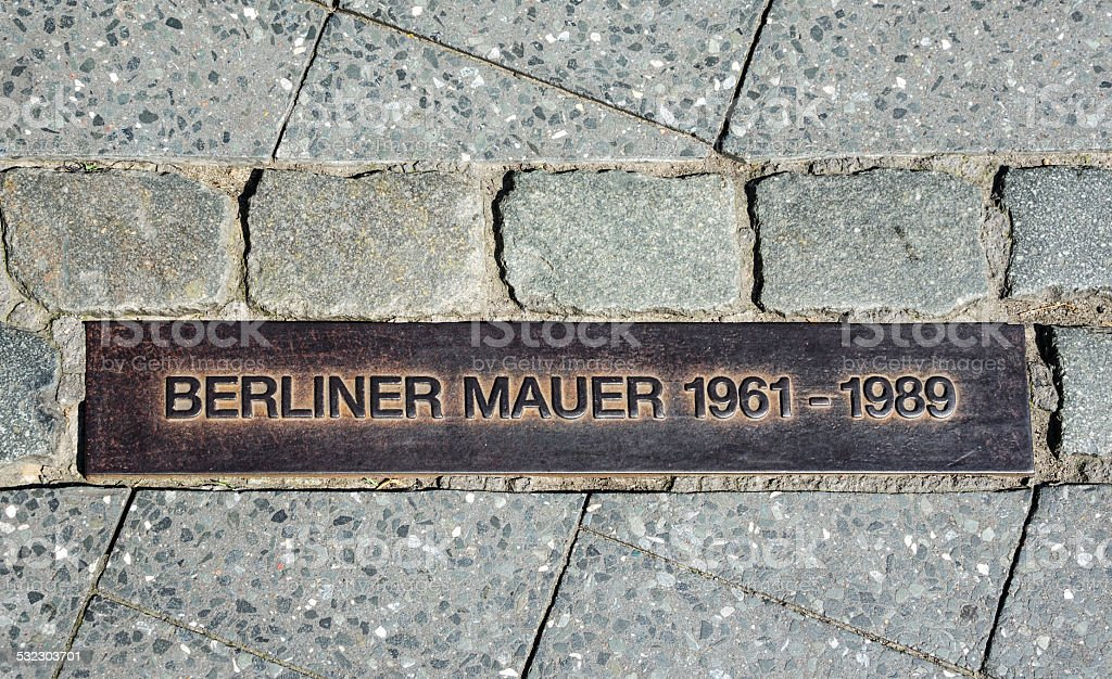 Berlin wall sign on the street, Berliner Mauer stock photo