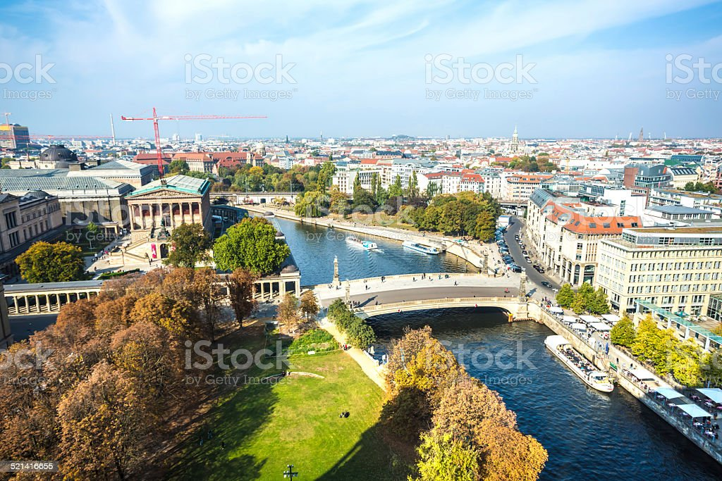 Berlin with Spree river stock photo