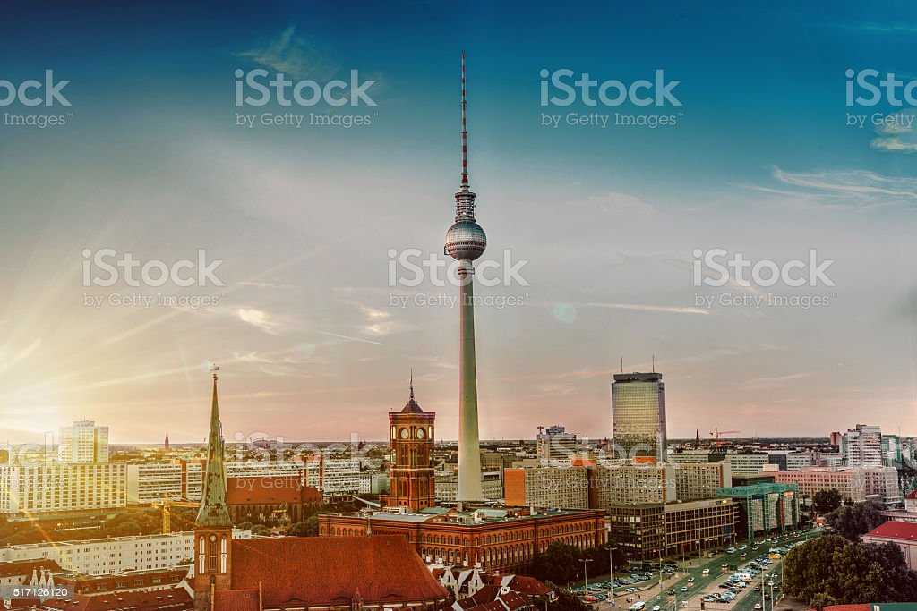 berlin with television tower at sunset stock photo