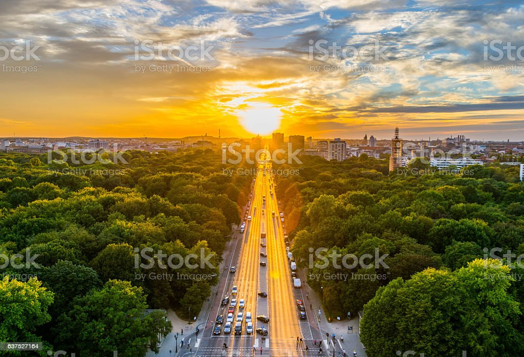 Berlin,Aerial View of Tiergarten park in Victory Column, Germany – Foto