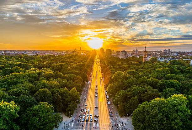 berlin,aerial view of tiergarten park in victory column, germany - berlin street bildbanksfoton och bilder