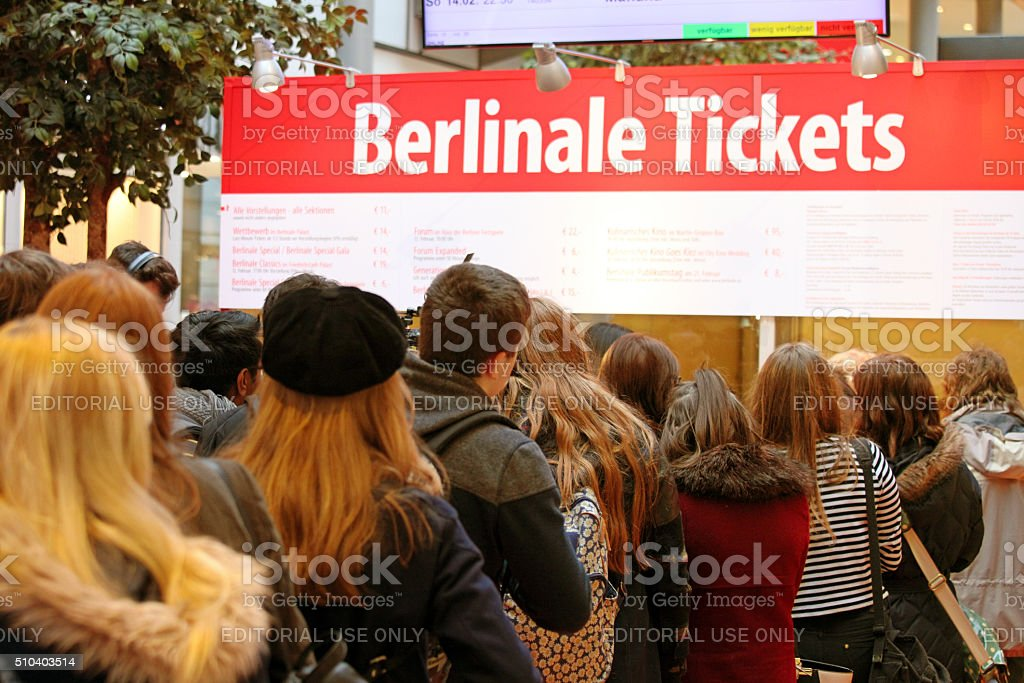 Berlinale Film Festival, Berlin: people queing to buy event tickets stock photo