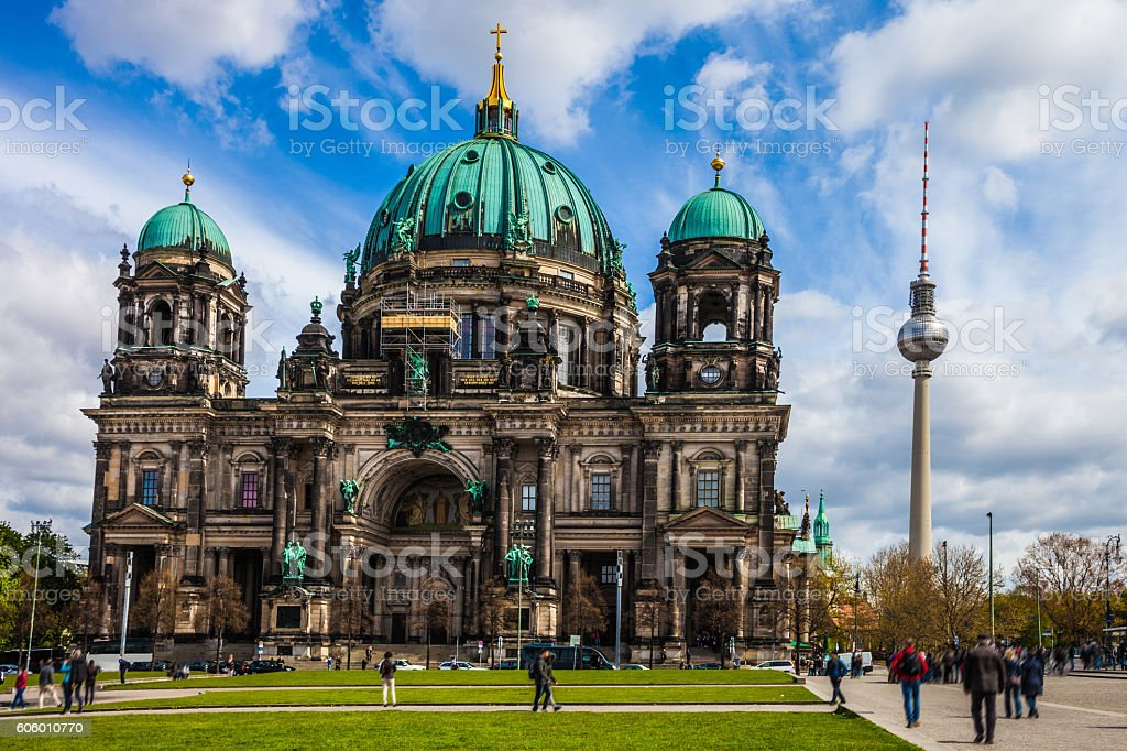 Berliner Dom - Berlin Cathedral and Tower skyline stock photo
