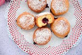 Berliner, German doughnut filled with strawberry jam