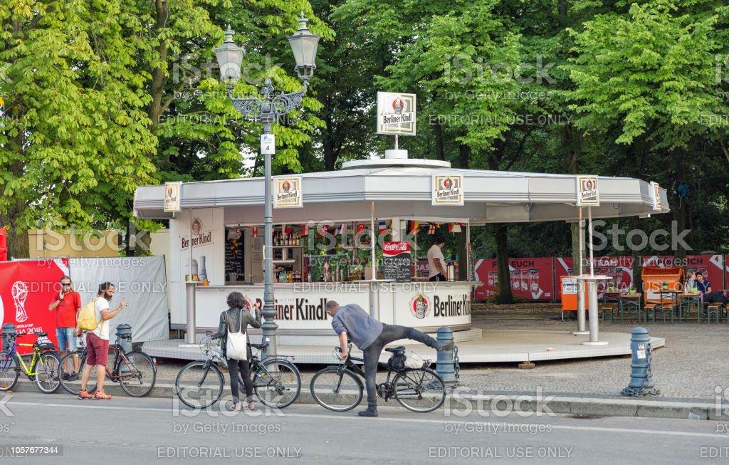 Berliner Kindl bar in Tiergarten park. Berlin, Germany. stock photo
