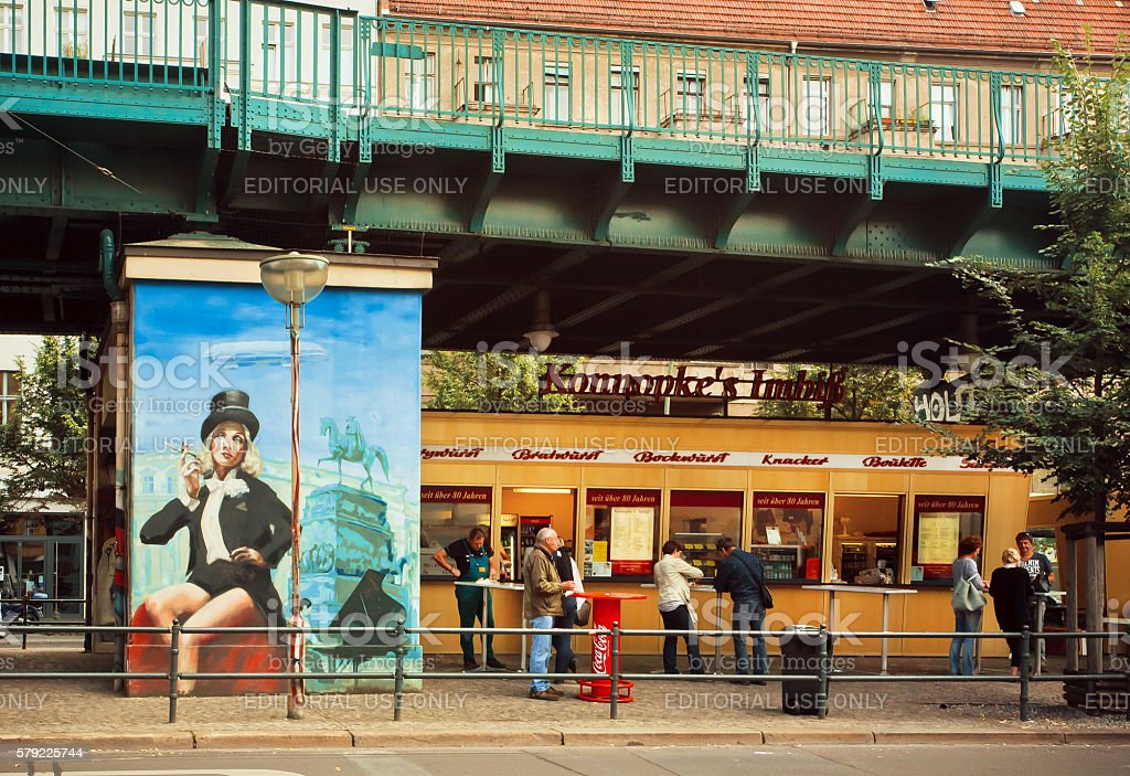Berliners have lunch at fast food store stock photo