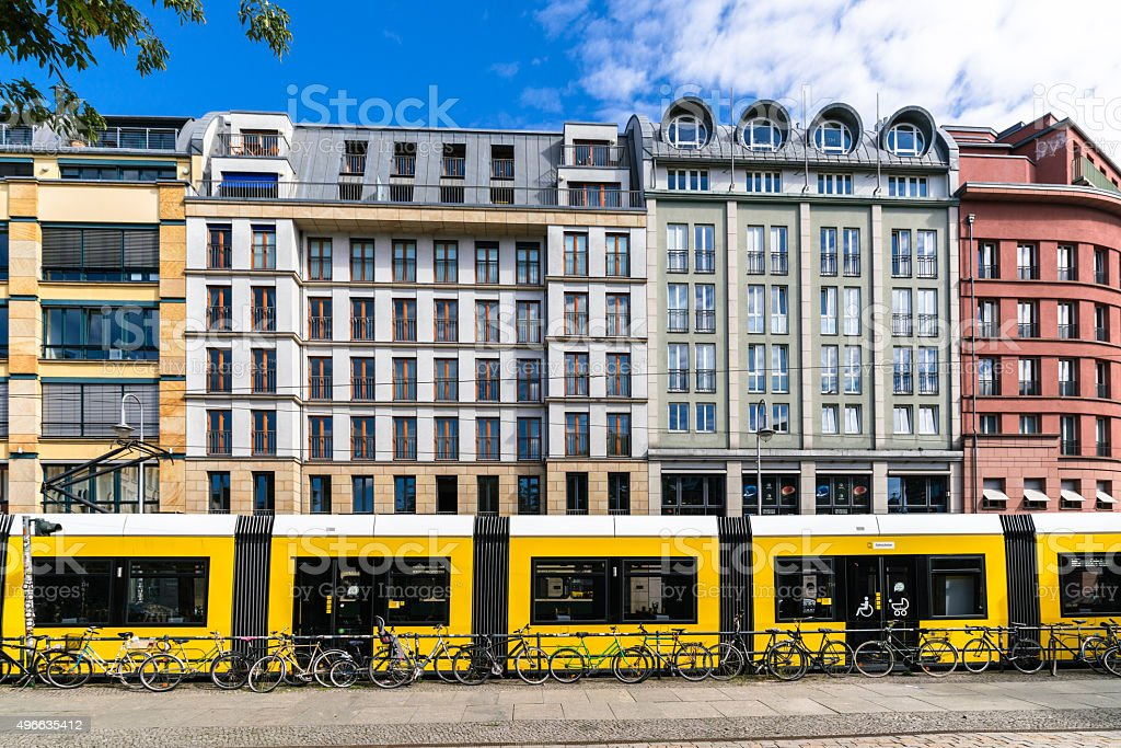 Berlin's central Mitte district Hackescher Markt with Tram stock photo