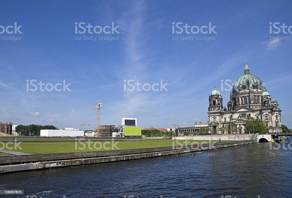 Berlins Dom, river Spree and the Schlossplatz stock photo