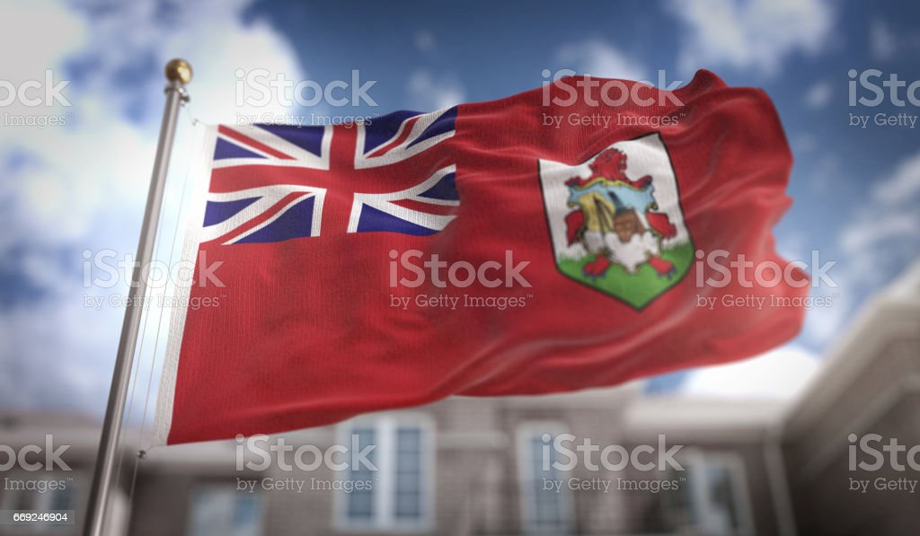 Bermuda Flag 3D Rendering on Blue Sky Building Background stock photo
