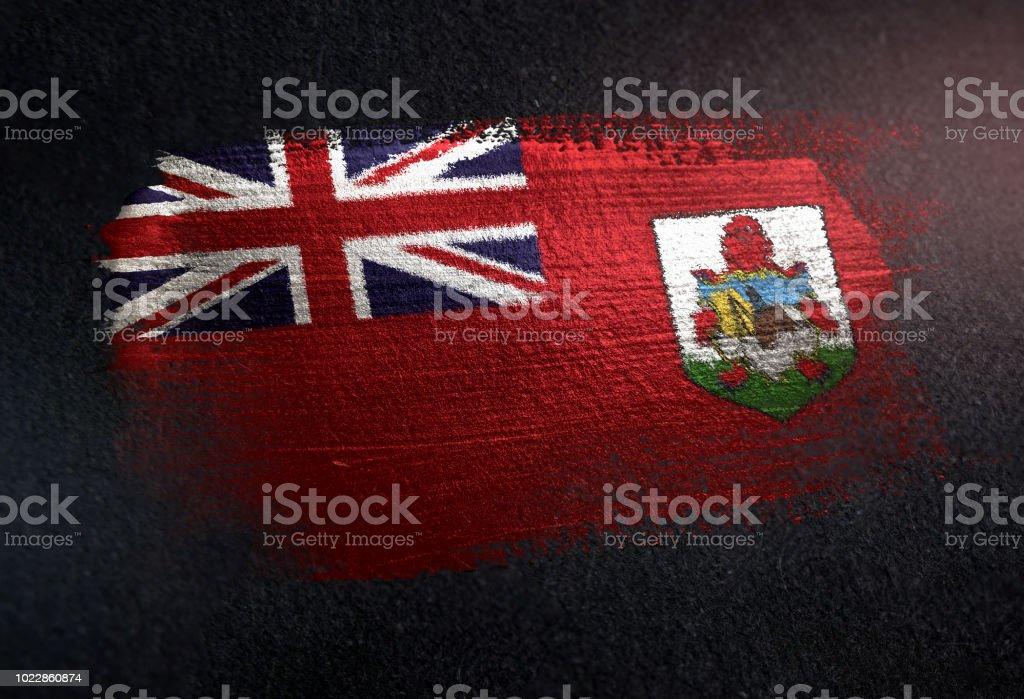 Bermuda Flag Made of Metallic Brush Paint on Grunge Dark Wall stock photo