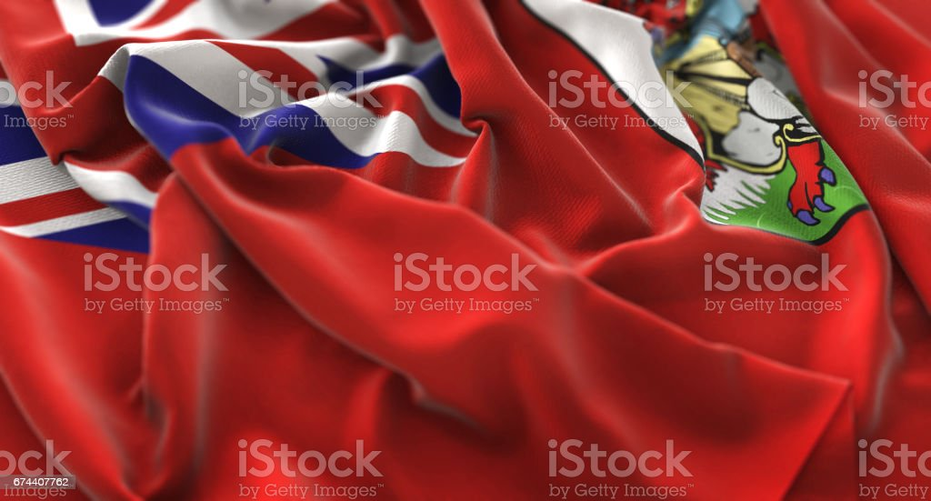 Bermuda Flag Ruffled Beautifully Waving Macro Close-Up Shot stock photo