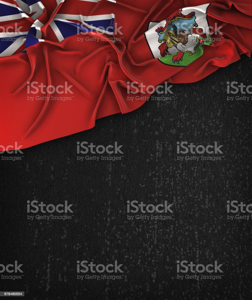 Bermuda Flag Vintage on a Grunge Black Chalkboard With Space For Text stock photo