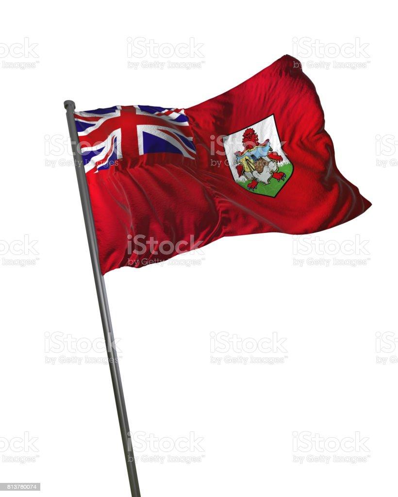 Bermuda Flag Waving Isolated on White Background Portrait stock photo