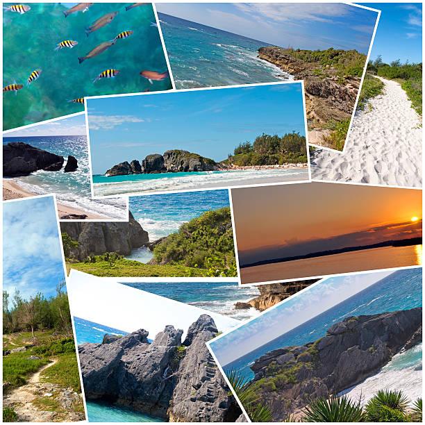 Bermuda Nature Collage- Horseshoe Bay, sunset, Sandy Beach Trail, ocean stock photo