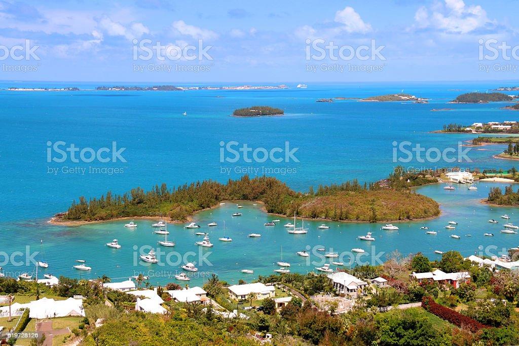 Bermuda tropical landscape view from above - foto de acervo