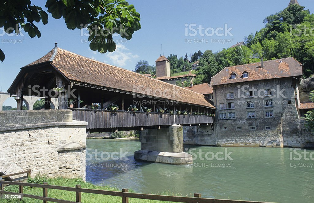 Pont de Berne, Fribourg, Switzerland stock photo