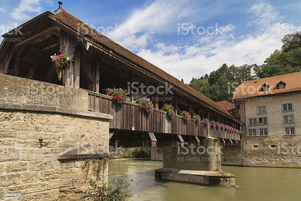 Bern Bridge in Fribourg royalty-free stock photo
