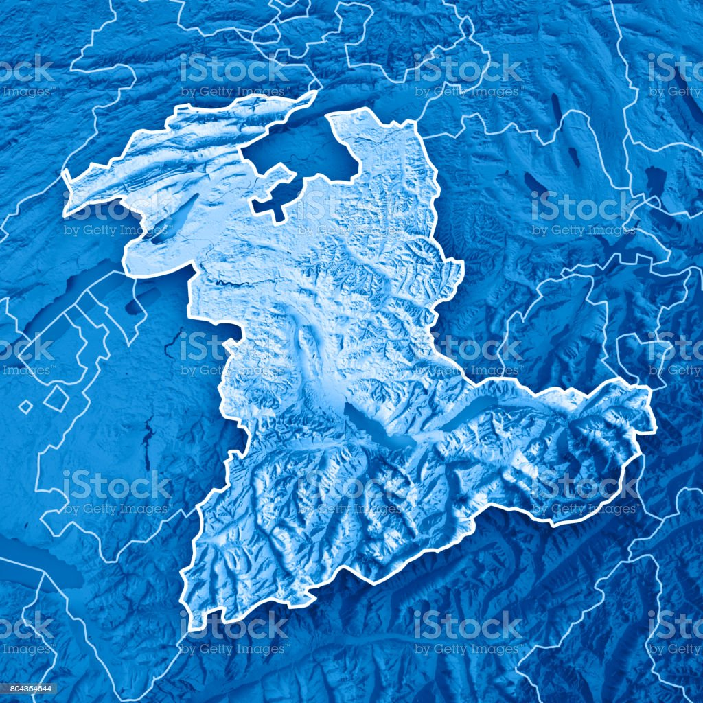 Bern Canton Switzerland 3D Render Topographic Map Blue Border stock photo