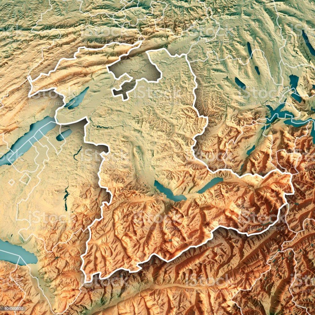 Bern Canton Switzerland 3d Render Topographic Map Border stock photo