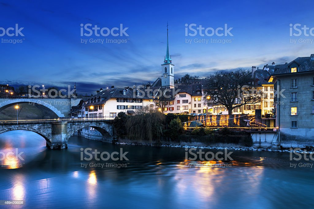 Bern city by night stock photo