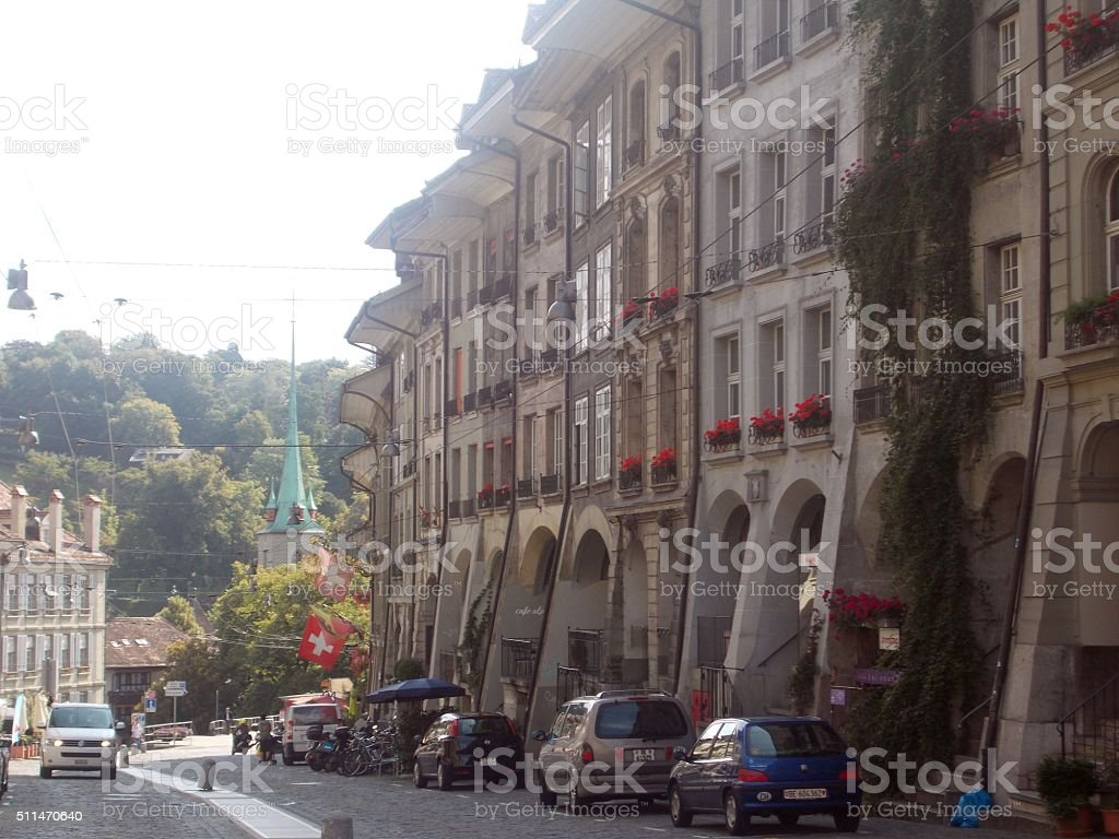 bern - main street in the old town stock photo