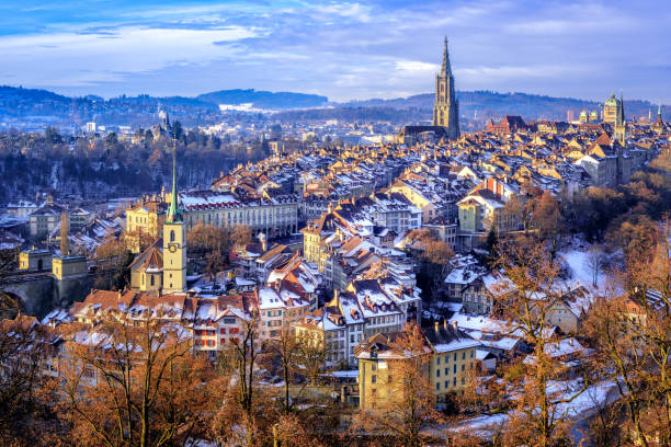 Bern Old Town on a cold snow winter day, Switzerland stock photo