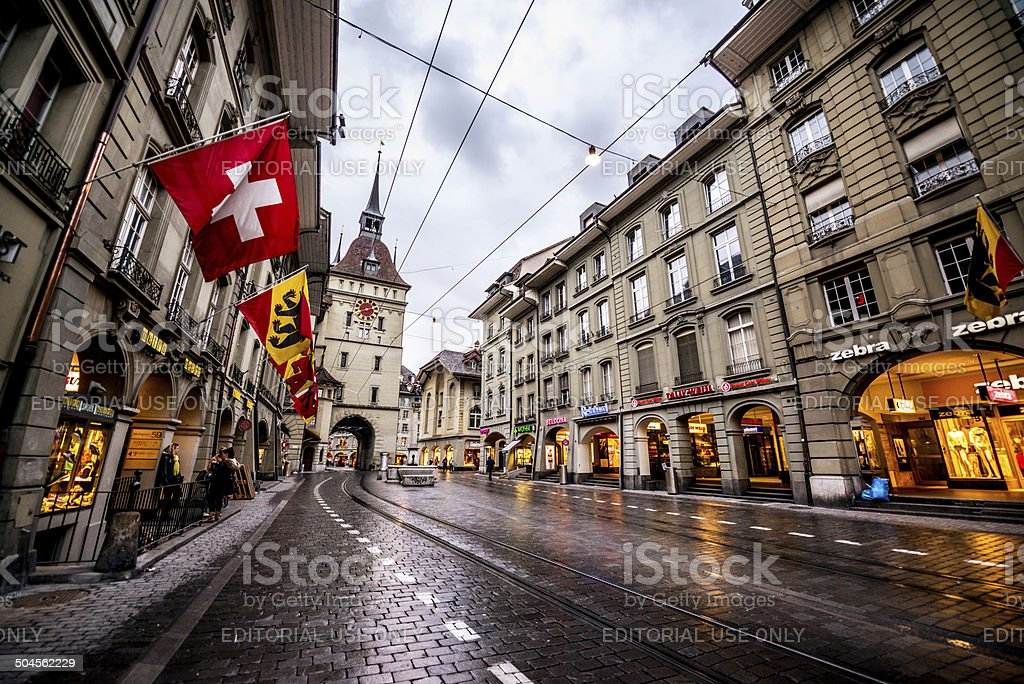 Bern Street after the rain, Switzerland stock photo