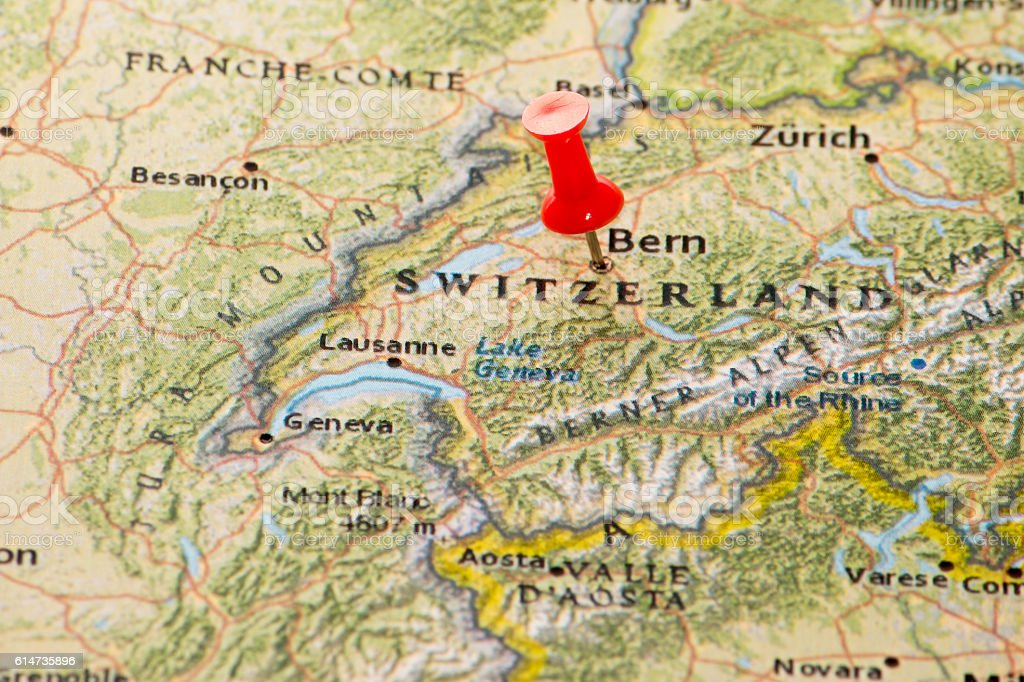Bern Switzerland Pinned On A Map Of Europe stock photo iStock