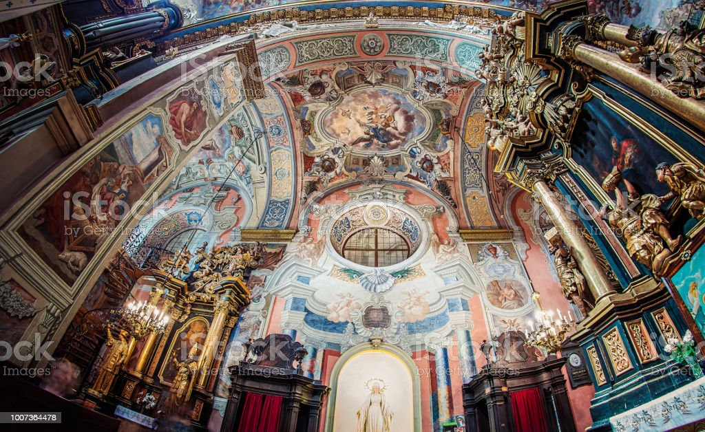 Bernardine church interior, Lviv, Ukraine stock photo