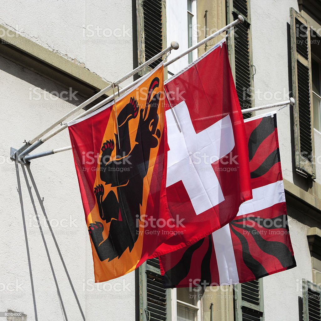 Berne and Switzerland Flags royalty-free stock photo