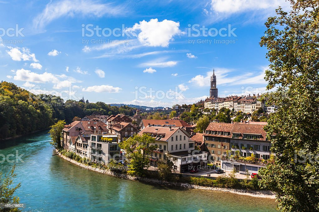 Berne old town and the Aare river stock photo