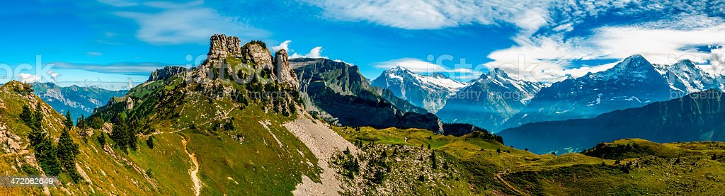 Bernese Alps panorama from Schynige Platte - IV stock photo