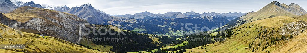 Bernese Oberland in autumn panorama royalty-free stock photo