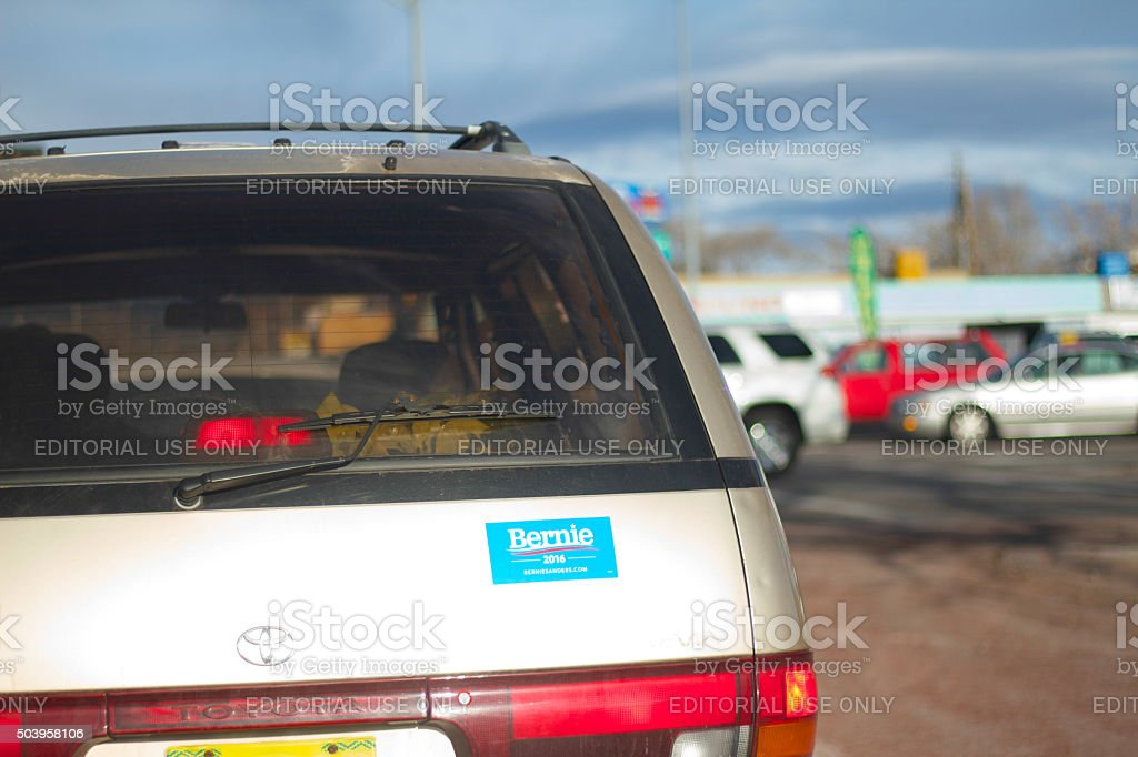 'Bernie 2016' Sticker on Car at Intersection stock photo