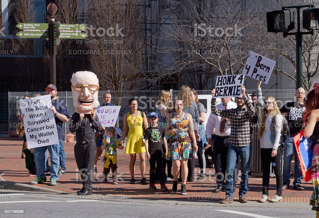 Bernie Sanders Character Stands With Supporters in Asheville stock photo