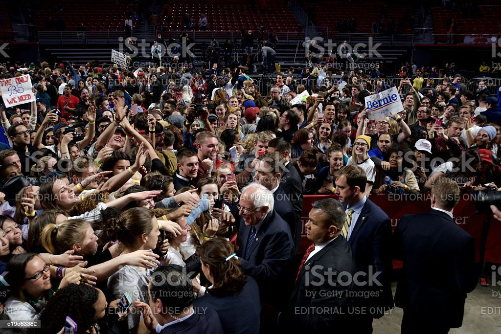 Bernie Sanders meets voters after Philadelphia, PA Rally stock photo