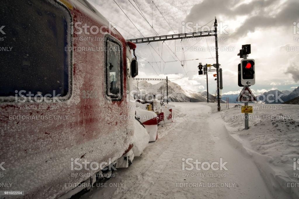Bernina Express train carriage stock photo