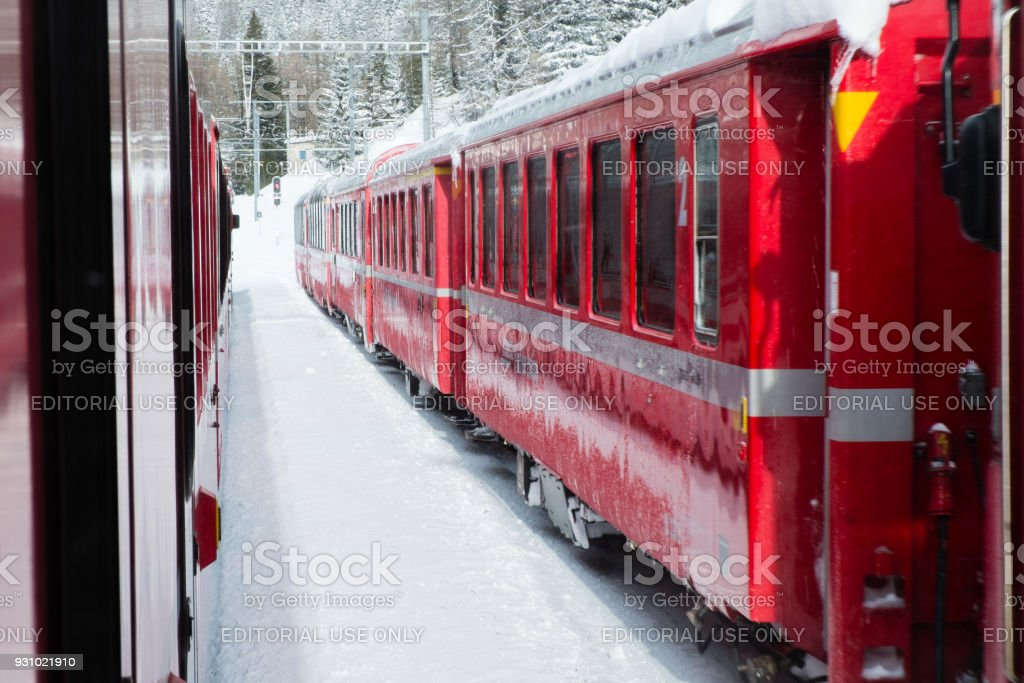 Bernina Express train carriages stock photo