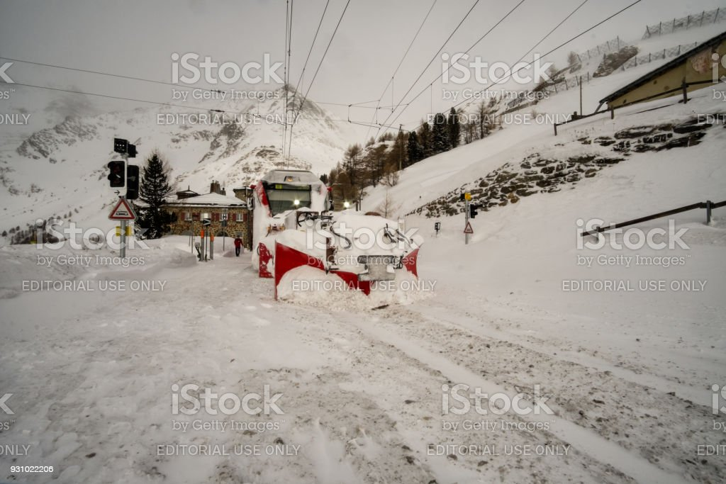 Bernina Express train in winter stock photo