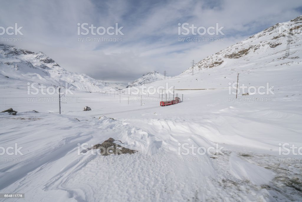 Bernina Express, winter, Switzerland stock photo