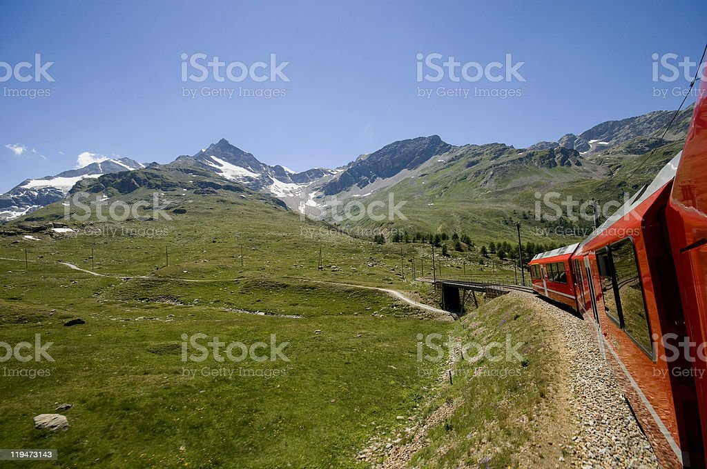 Bernina line (St. Moritz-Tirano) stock photo